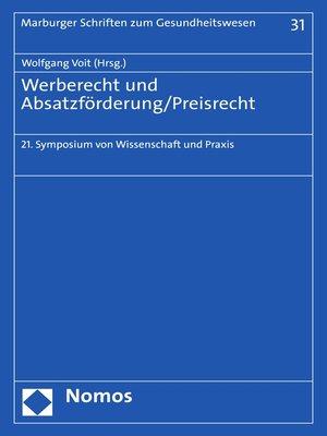 cover image of Werberecht und Absatzförderung/Preisrecht