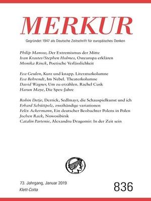 cover image of MERKUR Gegründet 1947 als Deutsche Zeitschrift für europäisches Denken--2019-1