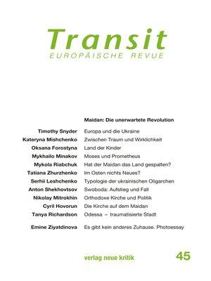 cover image of Transit 45. Europäische Revue