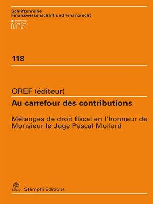 cover image of Au carrefour des contributions