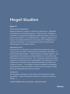 cover image of Hegel-Studien / Hegel-Studien Band 17