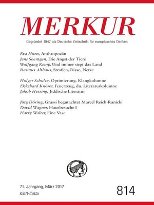 cover image of MERKUR Deutsche Zeitschrift für europäisches Denken--2017-03