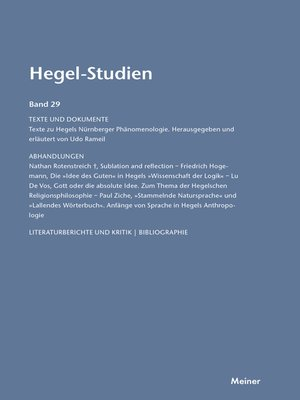 cover image of Hegel-Studien / Hegel-Studien Band 29