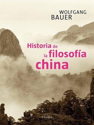 cover image of Historia de la filosofía china