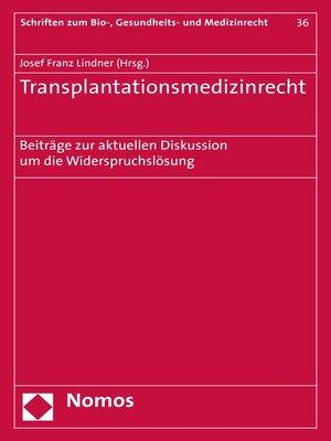 cover image of Transplantationsmedizinrecht