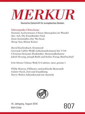 cover image of MERKUR Deutsche Zeitschrift für europäisches Denken--2016-08