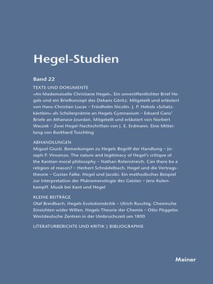 cover image of Hegel-Studien / Hegel-Studien Band 22