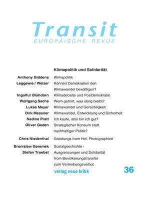 cover image of Transit 36. Europäische Revue