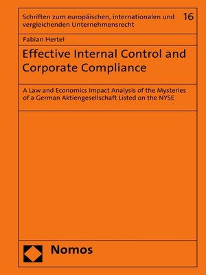 cover image of Effective Internal Control and Corporate Compliance