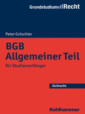 cover image of BGB Allgemeiner Teil