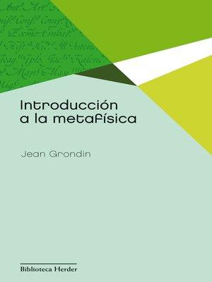 cover image of Introducción a la metafísica