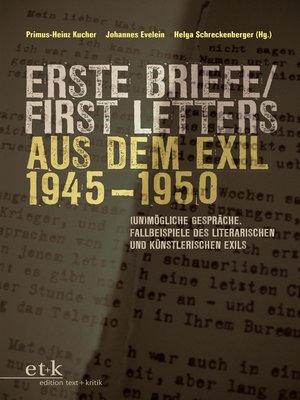cover image of Erste Briefe / First Letters aus dem Exil 1945-1950