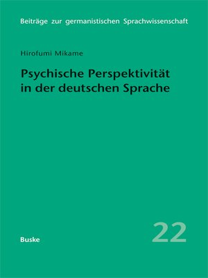 cover image of Psychische Perspektivität in der deutschen Sprache