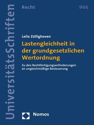cover image of Lastengleichheit in der grundgesetzlichen Wertordnung