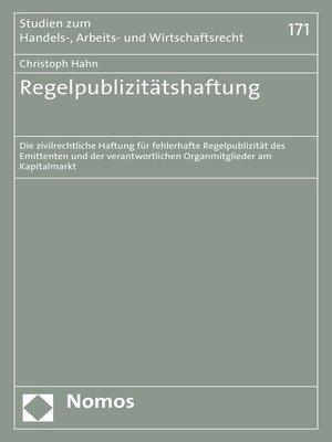 cover image of Regelpublizitätshaftung