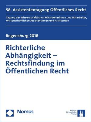 cover image of Richterliche Abhängigkeit--Rechtsfindung im Öffentlichen Recht