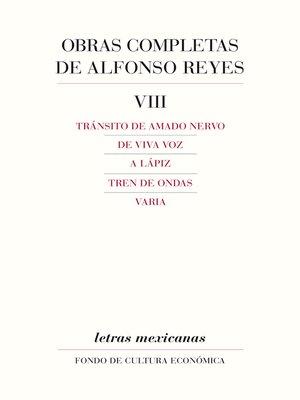 cover image of Obras completas, VIII