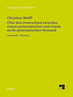 cover image of Über den Unterschied zwischen dem systematischen und dem nicht-systematischen Verstand