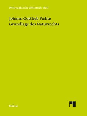 cover image of Grundlage des Naturrechts nach Prinzipien der Wissenschaftslehre (1796)