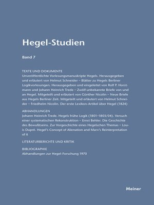 cover image of Hegel-Studien / Hegel-Studien Band 7