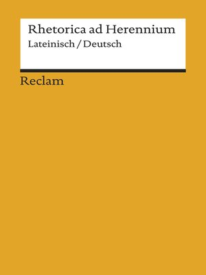 cover image of Rhetorica ad Herennium. Lateinisch/Deutsch