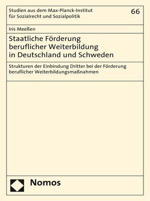 cover image of Staatliche Förderung beruflicher Weiterbildung in Deutschland und Schweden