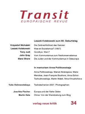 cover image of Transit 34. Europäische Revue