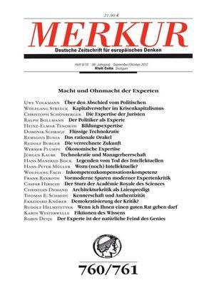 cover image of MERKUR Deutsche Zeitschrift für europäisches Denken. Macht und Ohnmacht der Experten