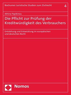 cover image of Die Pflicht zur Prüfung der Kreditwürdigkeit des Verbrauchers