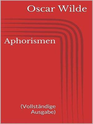 cover image of Aphorismen (Vollständige Ausgabe)