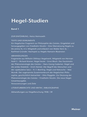 cover image of Hegel-Studien / Hegel-Studien Band 1