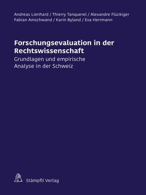 cover image of Forschungsevaluation in der Rechtswissenschaft