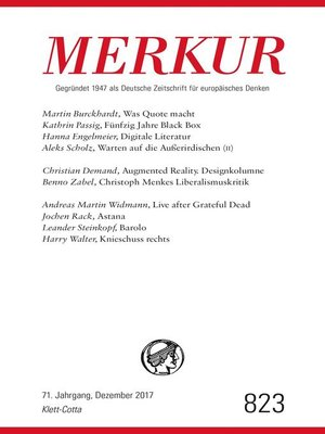 cover image of MERKUR Deutsche Zeitschrift für europäisches Denken--2017-12