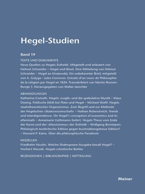 cover image of Hegel-Studien / Hegel-Studien Band 19