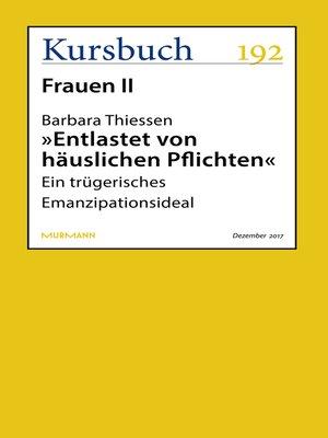 """cover image of """"Entlastet von häuslichen Pflichten"""""""