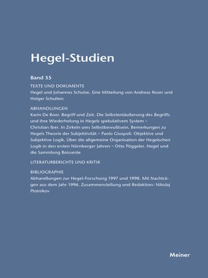 cover image of Hegel-Studien / Hegel-Studien Band 35