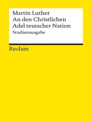 cover image of An den Christlichen Adel teutscher Nation