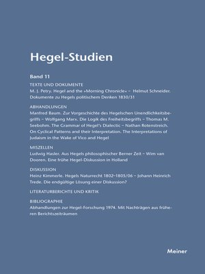 cover image of Hegel-Studien / Hegel-Studien Band 11