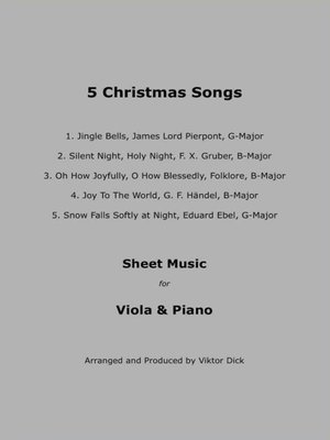 cover image of 5 Christmas Songs--Sheet Music for Viola & Piano