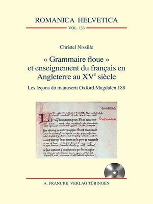 """cover image of """"Grammaire floue"""" et enseignement du français en Angleterre au XVe siècle"""