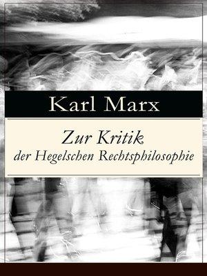 cover image of Zur Kritik der Hegelschen Rechtsphilosophie