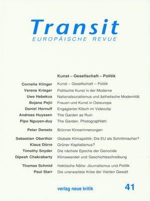 cover image of Transit 41. Europäische Revue
