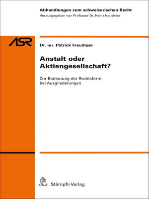 cover image of Anstalt oder Aktiengesellschaft?