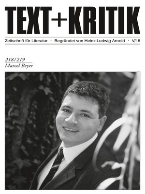 cover image of TEXT + KRITIK 218/219--Marcel Beyer