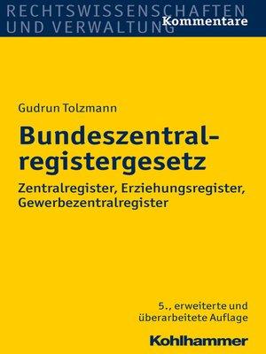 cover image of Bundeszentralregistergesetz