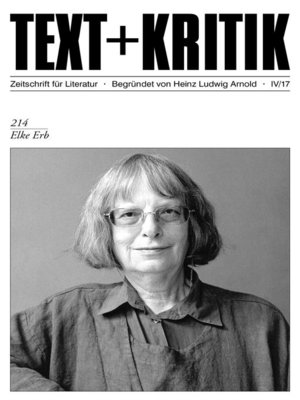 cover image of TEXT + KRITIK 214--Elke Erb