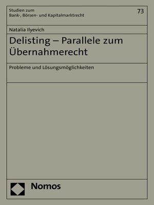 cover image of Delisting--Parallele zum Übernahmerecht
