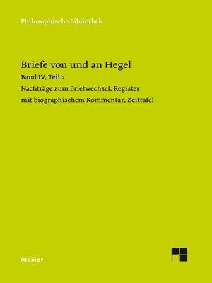 cover image of Briefe von und an Hegel