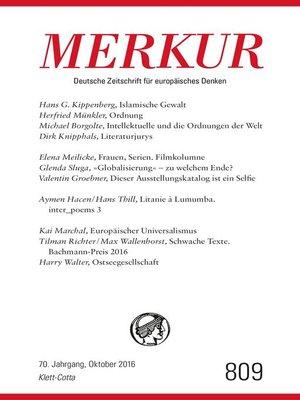 cover image of MERKUR Deutsche Zeitschrift für europäisches Denken--2016-10