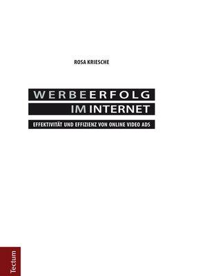cover image of Werbeerfolg im Internet